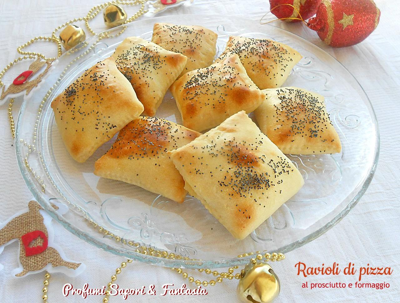 ravioli di pizza al prosciutto e formaggio