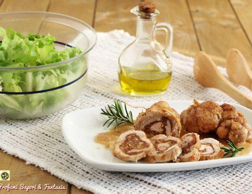 Involtini di petto di pollo con prosciutto e noci