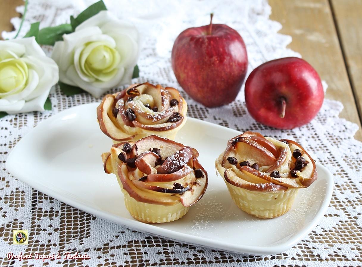 Rose di pasta sfoglia alle mele