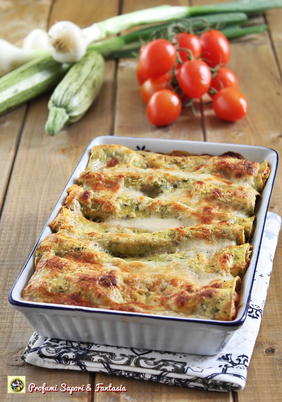 cannelloni con verdure in salsa al formaggio