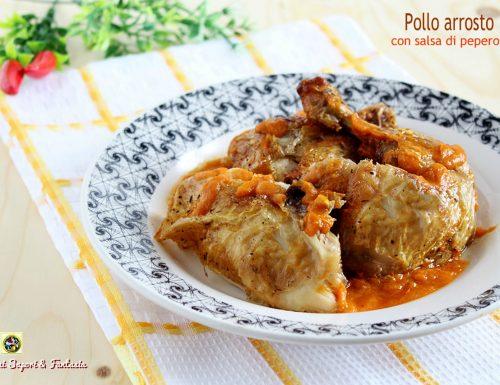 Pollo arrosto con salsa di peperoni