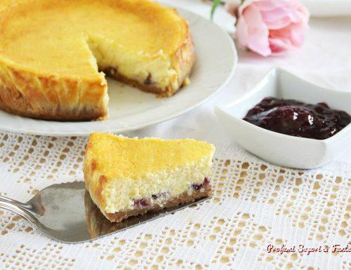 Cheesecake con panna e ricotta cotta al forno