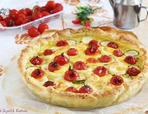 Torta con formaggi zucchine ricotta e uova sode