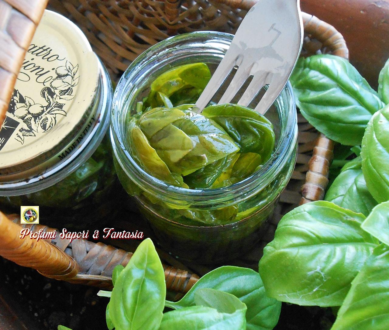 conservare il basilico in olio