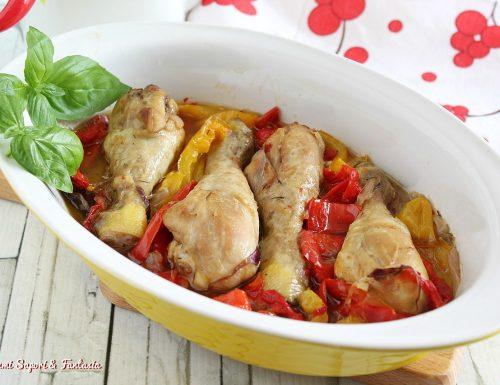 Cosce di pollo ai peperoni