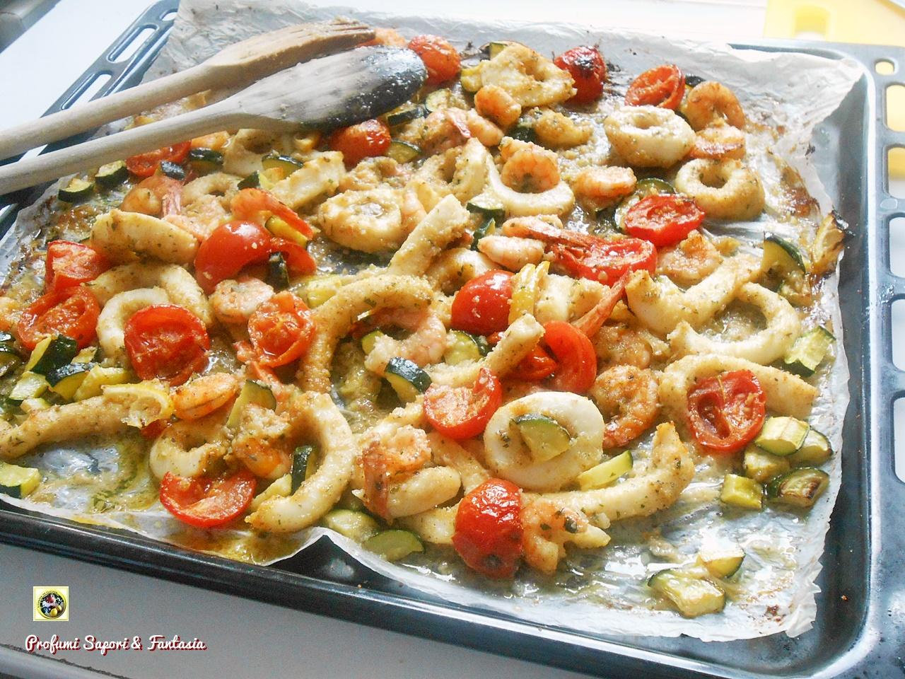 Calamari e gamberi al forno