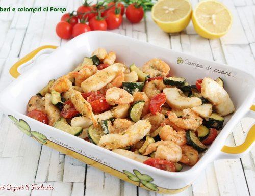 Gamberi e calamari al forno con zucchine e pomodorini