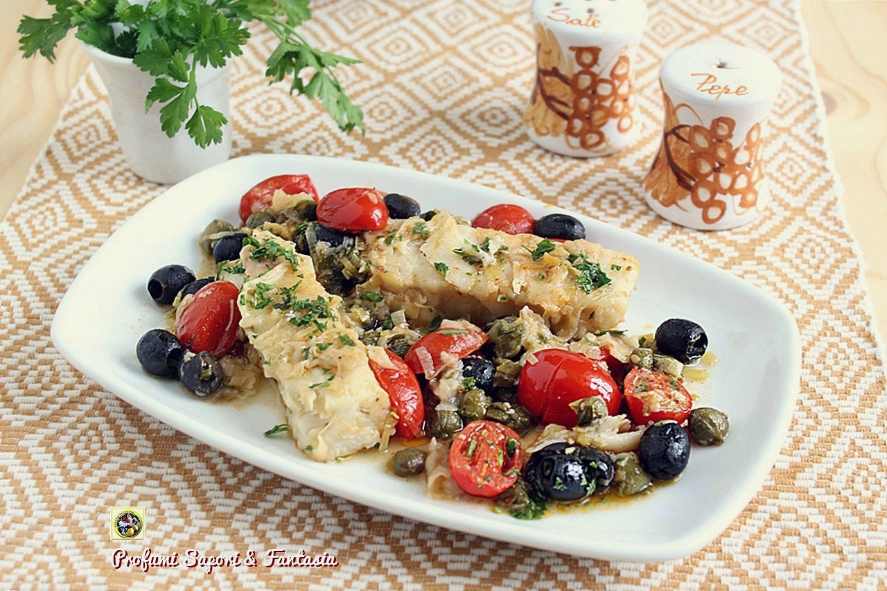 Merluzzo con olive pomodorini e capperi