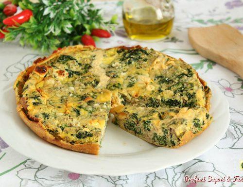 Frittata al forno con formaggio carne e spinaci