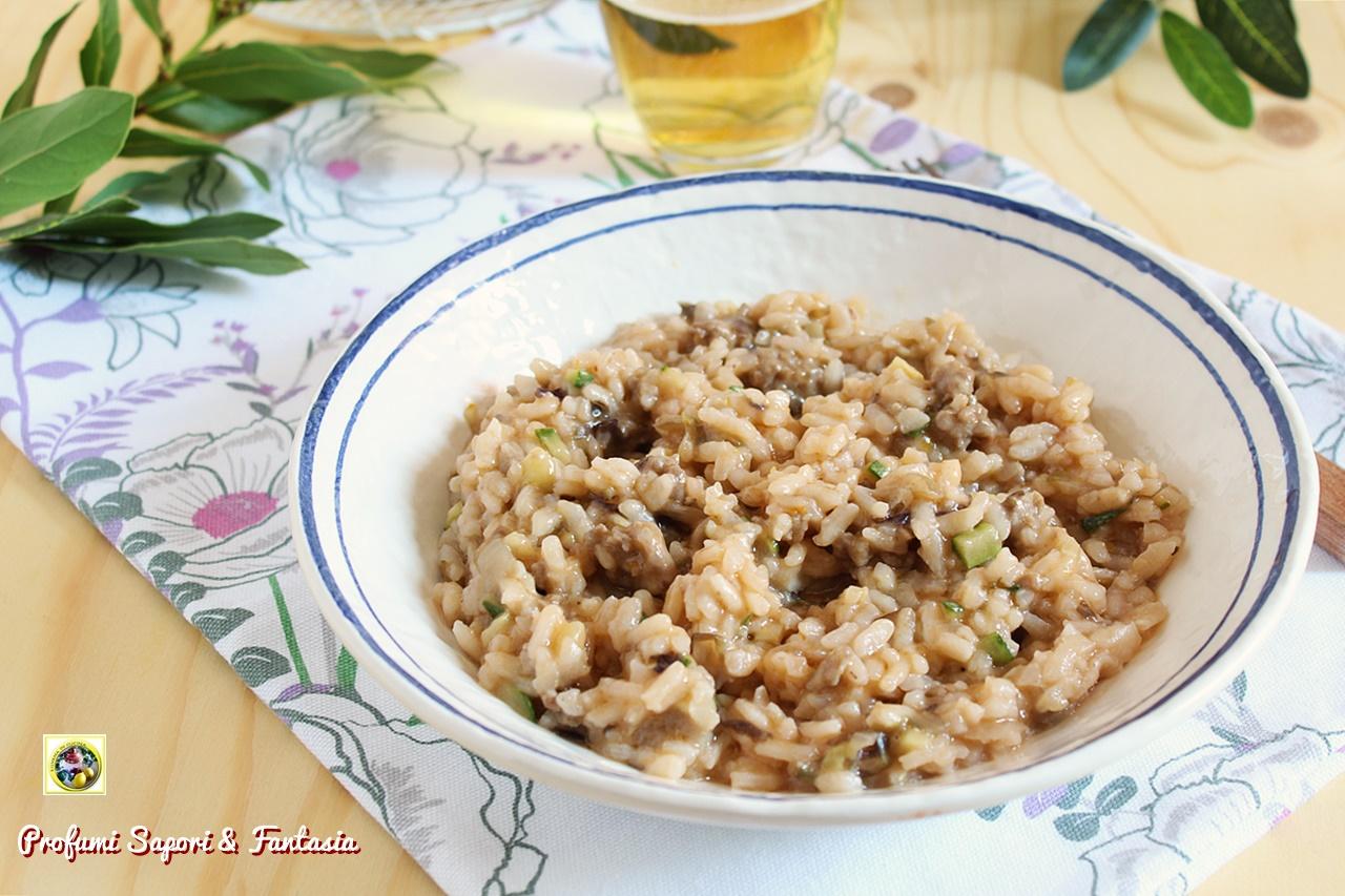 risotto con salsiccia radicchio e zucchine