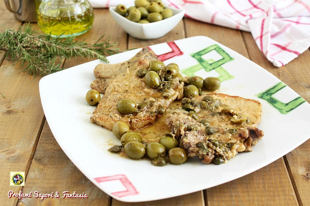 braciole di maiale con olive e capperi