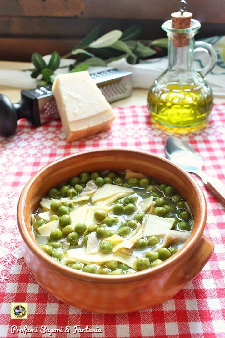 minestra con piselli patate e cipolle