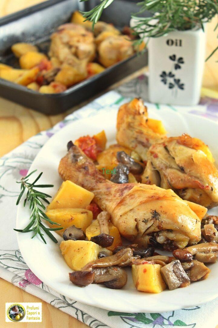 cosce di pollo arrosto con funghi e patate