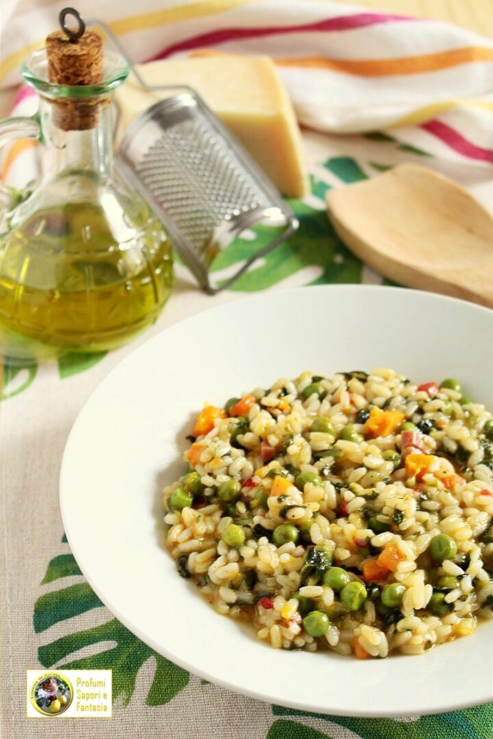 risotto del contadino verdure e prosciutto