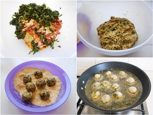 polpettine spinaci e salsiccia con salsa