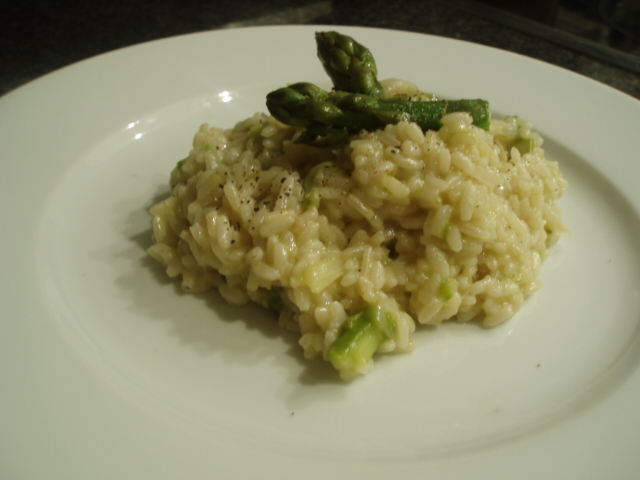 Rice with asparagus without butter