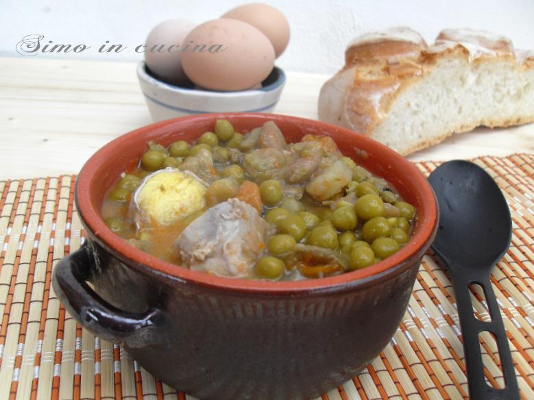 Zuppa di piselli fave e uova
