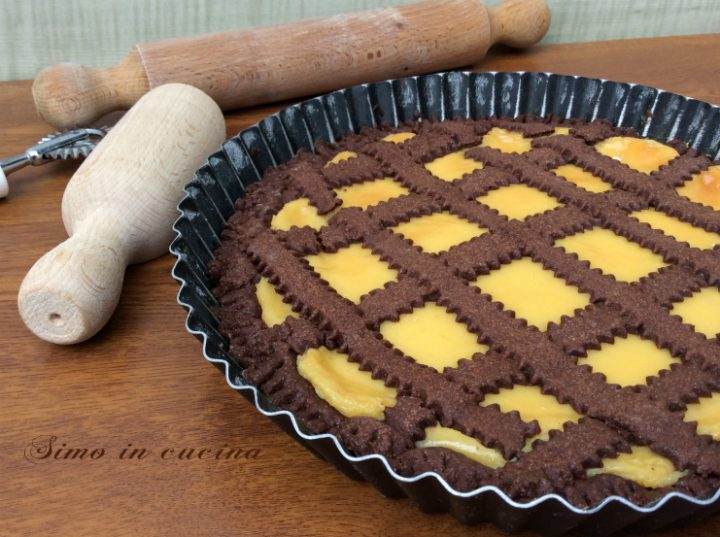 Crostata al cioccolato con crema pasticciera
