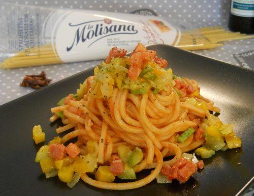Spaghetto quadrato in matriciana di verdure