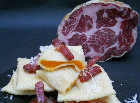 Tortelli di zucca con Coppa Piacentina DOP croccante