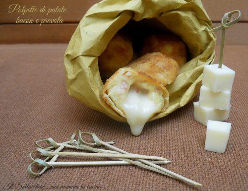 Polpette di patate, bacon e provola filante