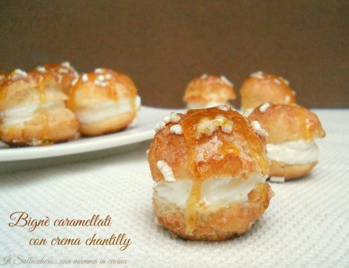 Bignè caramellati con crema chantilly