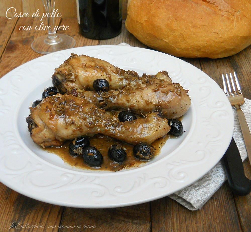 Cosce di pollo con olive nere, gustose ed economiche