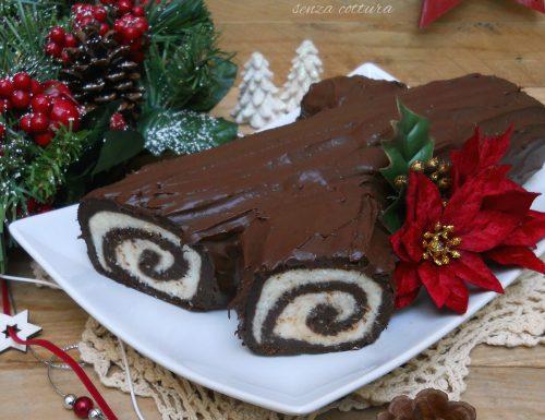 Tronchetto al cioccolato e cocco senza cottura, ricetta natalizia