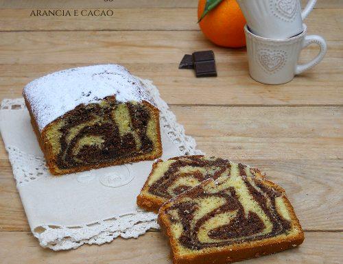Plumcake marmorizzato arancia e cacao, senza burro