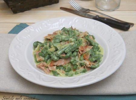 Spatzle agli spinaci con speck e mascarpone