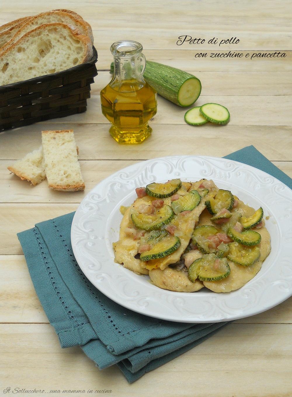 Petto di pollo con zucchine e pancetta, veloce, morbido e cremoso
