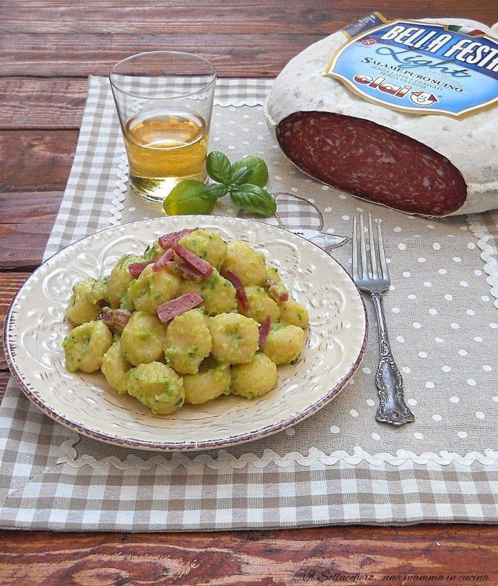 Gnocchi con Crema di Zucchine e Salame Croccante Bellafesta Light Clai