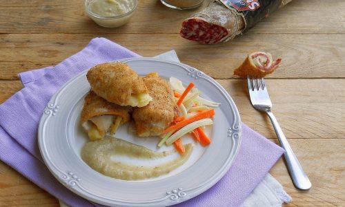 Involtini di pollo e salame Contadino Clai su crema di melanzane