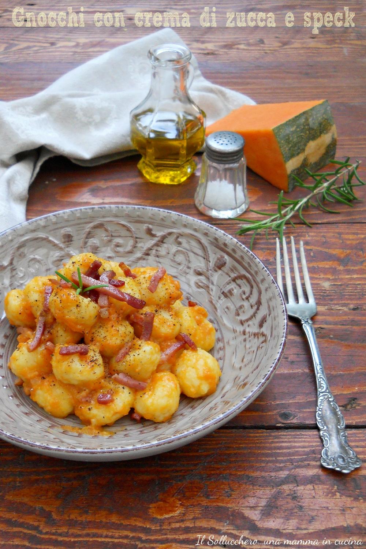 Ricetta Gnocchi Zucca E Pancetta.Gnocchi Con Crema Di Zucca E Speck Primo Piatto Saporito E Sfizioso