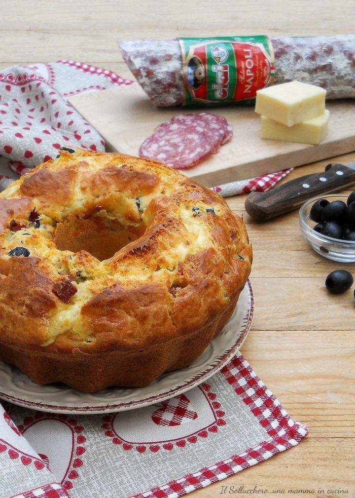 Ciambella Salata con Salame Napoli Clai, Caciotta e Olive Nere