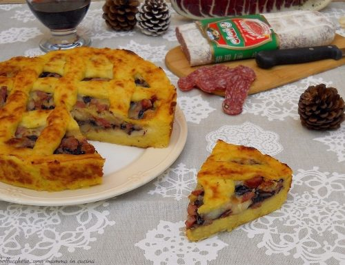 Crostata di patate con Salame Aquilano Clai, radicchio e scamorza dolce