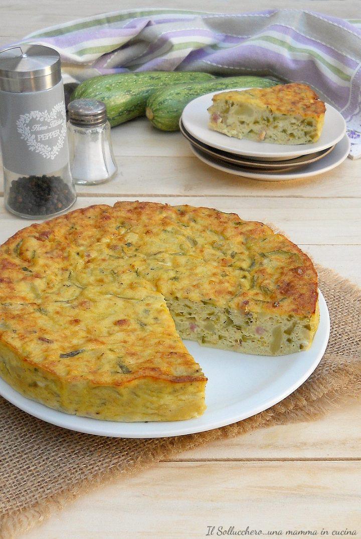 Ricetta Frittata Alta E Soffice.Frittata Di Zucchine Patate E Pancetta Morbida E Alta