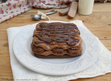 Tiramisù al cioccolato fondente, con crema senza uova
