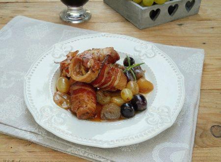 Involtini di maiale e pancetta con uva