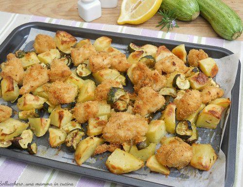 Bocconcini di pollo al forno con zucchine e patate