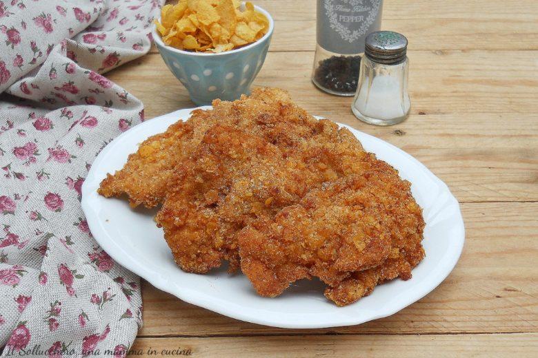 Cotolette di pollo con panatura ai corn flakes