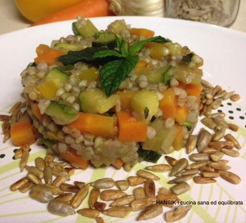 Grano saraceno con verdure saltate
