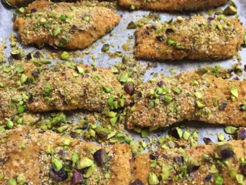 Filetti di trota salmonata in crosta di pistacchi