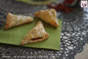Rustici con ricotta,spinaci e bacche di Goji