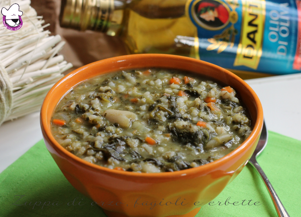 Zuppa di orzo, fagioli e erbette