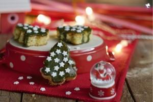 Alberi di Natale Brownies al cioccolato bianco