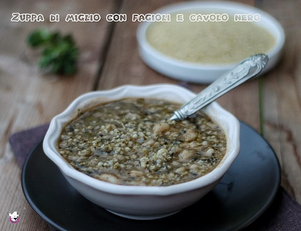 Zuppa di miglio con fagioli e cavolo nero