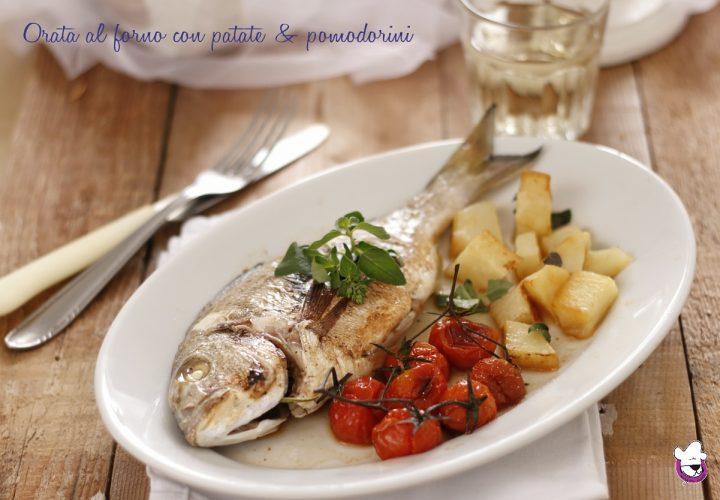 Orata al forno con patate e pmodorini