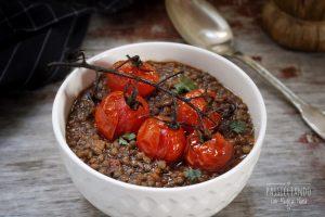 Zuppa di lenticchie con pomodorini al forno