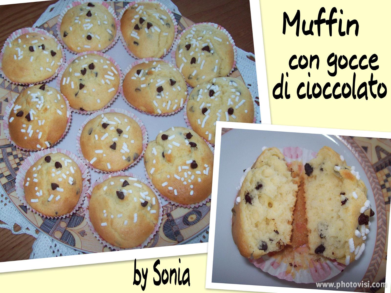 Muffin con gocce di cioccolato - Blog Dolcezze di Sonia